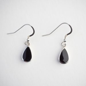 Small Clic Sterling Silver Teardrop Shaped Drop Earring Set With Whitby Jet A Solid Back