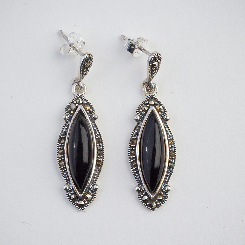 5ba196071 Lovely Sterling Silver Whitby Jet and marcasite drop earrings on a stud  fitting