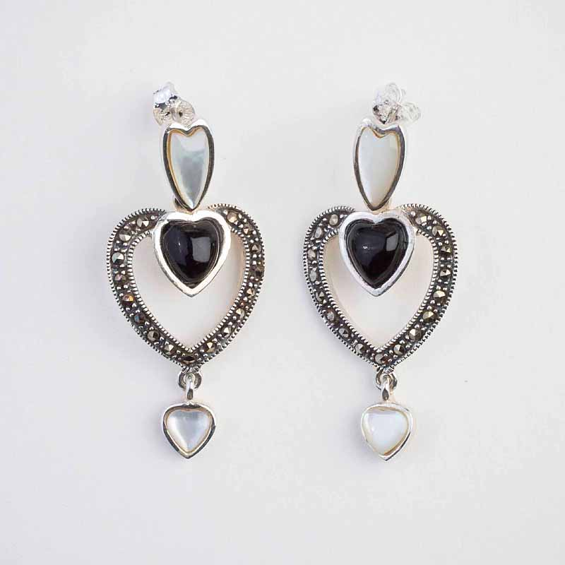 Unusual Sterling Silver Heart Shaped Whitby Jet Mother Of Pearl And Marcasite Drop Earrings On A Stud Ing